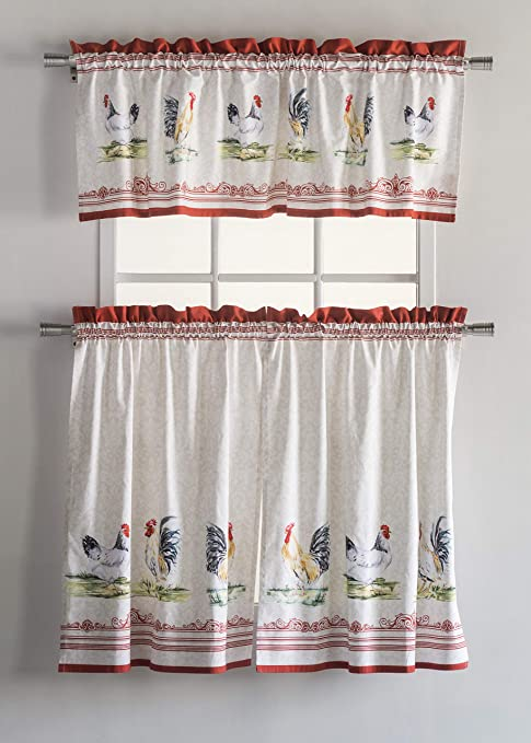 Maison d\' Hermine Campagne 100% Cotton Kitchen Curtain Sets - 2 Tiers (28  inch by 36 inch) and 1 Valance (56 Inch by 18 Inch)