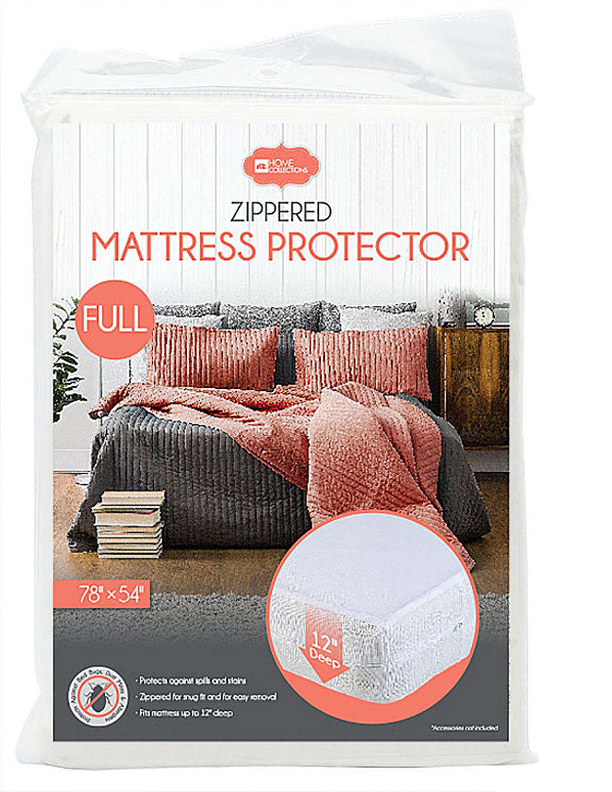 Home Collections BD-5217 Mattress Cover Zippered PVC - 12'' Deep Pocket (Full)