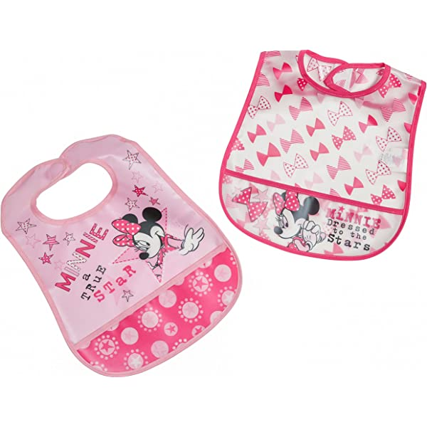 New Disney I Love First Christmas Minnie Mouse Baby Dinner Bib Gift
