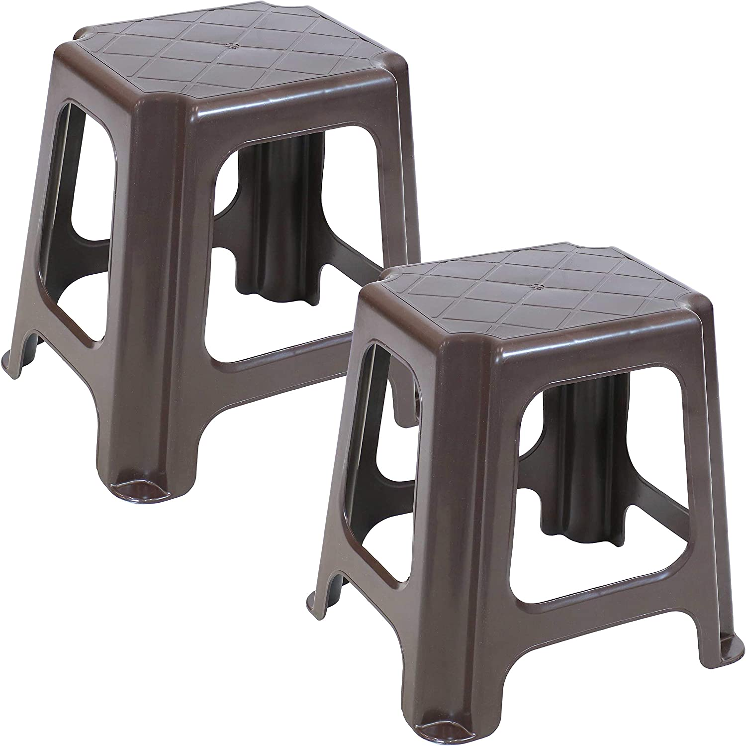 Sunnydaze Brown Plastic Step Stool - Indoor Outdoor Lightweight and Portable Footstool for Kitchen, Bathroom, Bedroom and Office - 260-Pound Weight Capacity - 16-Inch - Set of 2 Stools