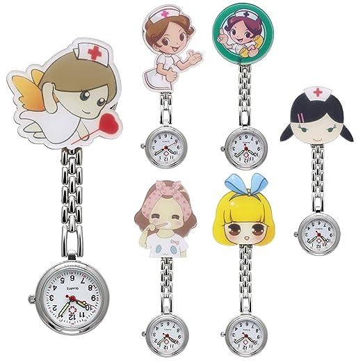 jsdde Relojes 6 x Enfermeras Fob de Reloj Reloj Cuidado Dibujos Animados Chica Hermana Reloj Reloj de Bolsillo Reloj de Cuarzo Relojes Set: Amazon.es: ...