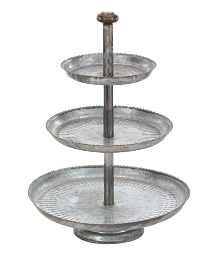 33f80e6c88 Image Unavailable. Image not available for. Color  Deco 79 Farmhouse 3-Tiered  Round Metal Tray Stand ...