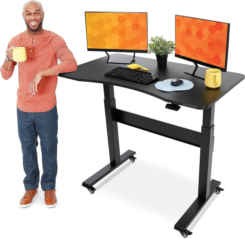 Stand Steady Tranzendesk| Pneumatic Standing Deskwith Detachable Wheels|Height Adjustable Sit toStandWorkstation|Modern Ergonomic Stand Up Deskfor Home & Office(48 Inch /Black)