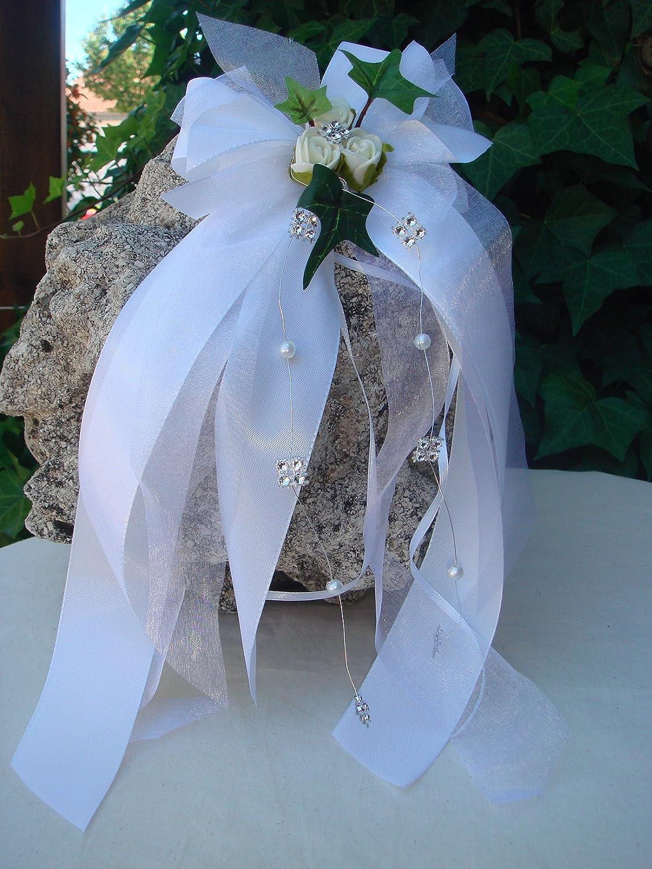10 Kirchenschleife weiß rosa Hochzeit Autoschmuck Herz Efeu Kirchenschmuck