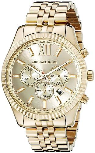 67f5fab8a9ed Michael Kors Men s MK8281 Quatrz Stainless Steel Lexington Gold Watch  Michael  Kors  Amazon.co.uk  Watches