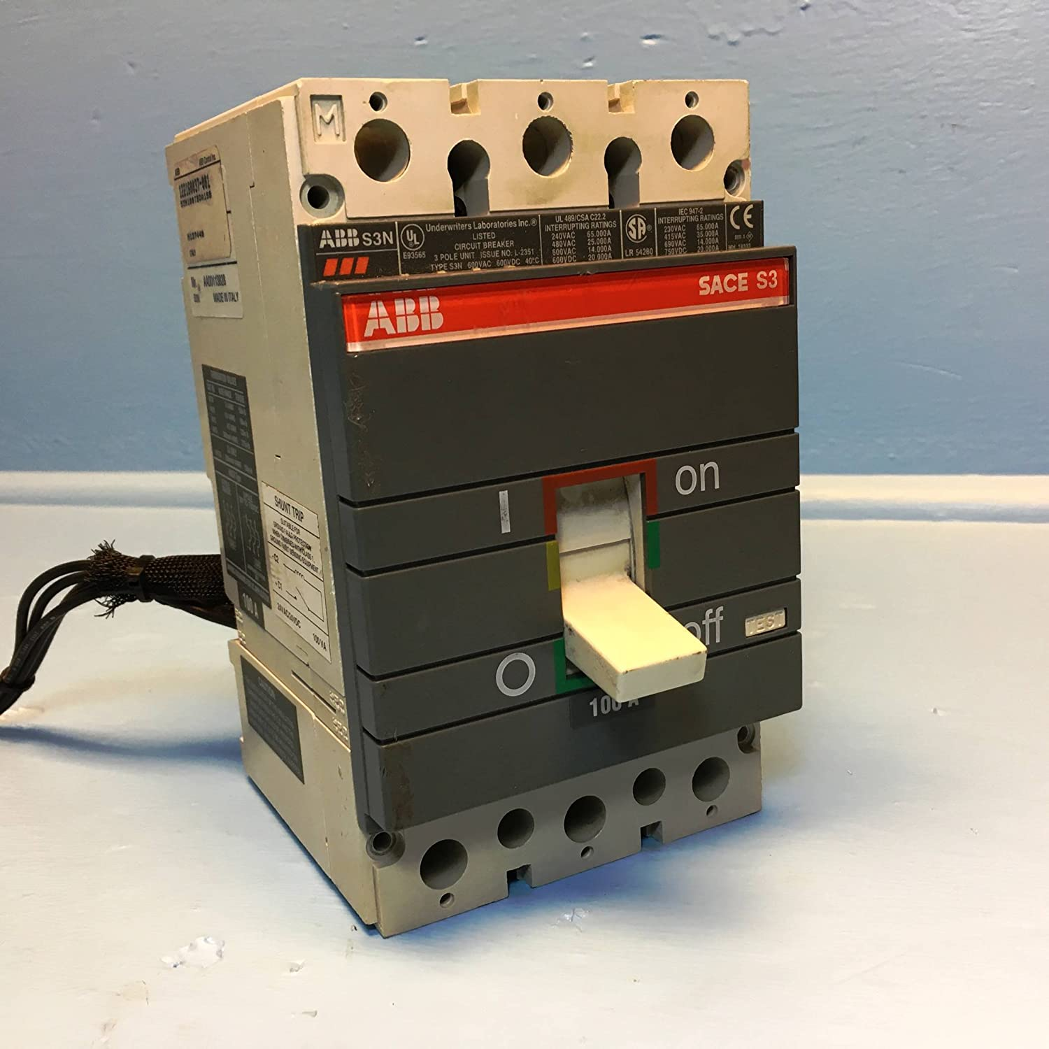 Abb Type S3n Sace S3 100a Circuit Breaker W Aux Shunt 3 Pole 600 Wiring Diagram Power Vac 100 Amp Industrial Scientific