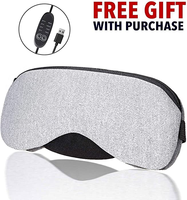 Eyes Heating Pad, Heating Eye Mask, Electric USB Sleep Mask, USB Steam Eye Mask, Time and Temperature Control for Sleeping, Relieve Dry Eye, Puffy Eyes, Tired Eyes, Dark Circles, Eye Bag, Grey