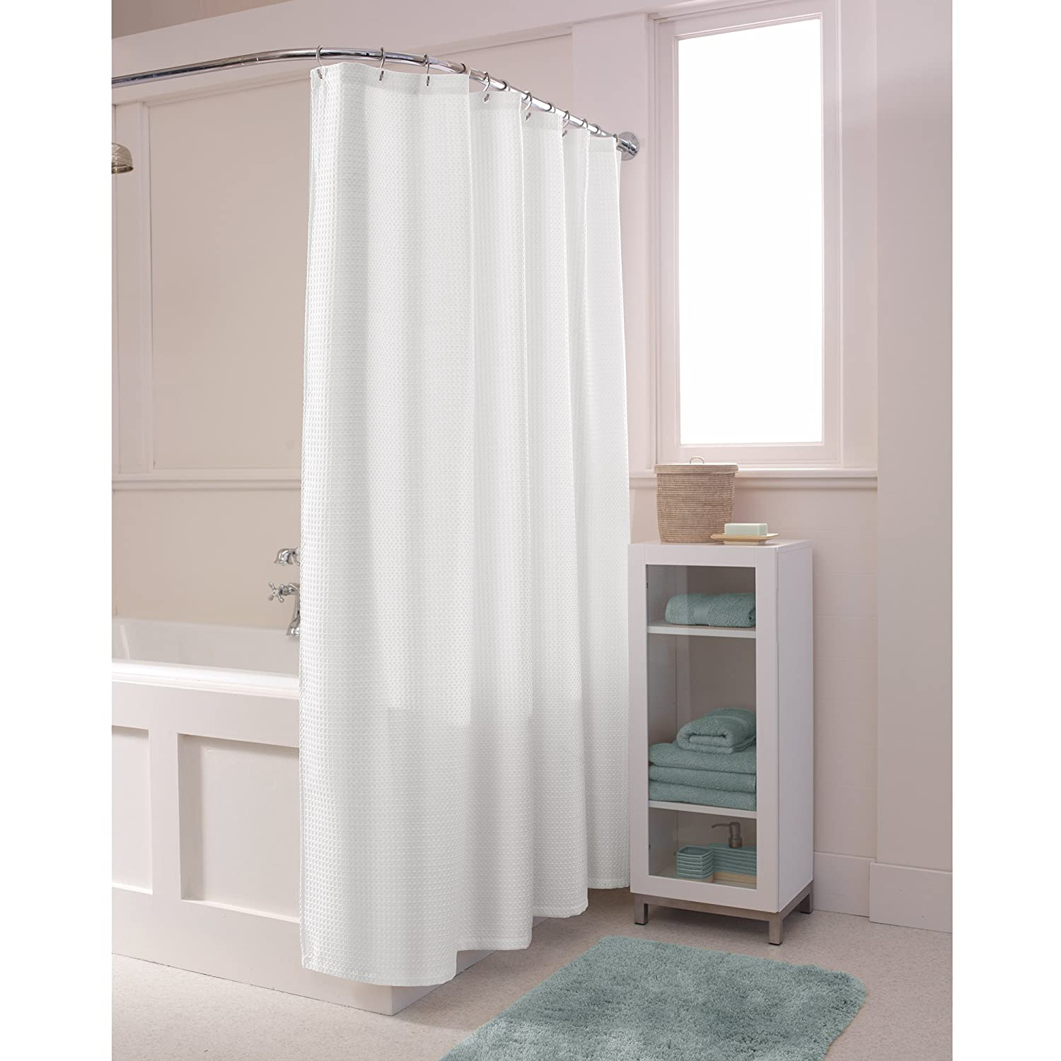 Amazon MAYTEX Textured Waffle Fabric Shower Curtain White Home Kitchen