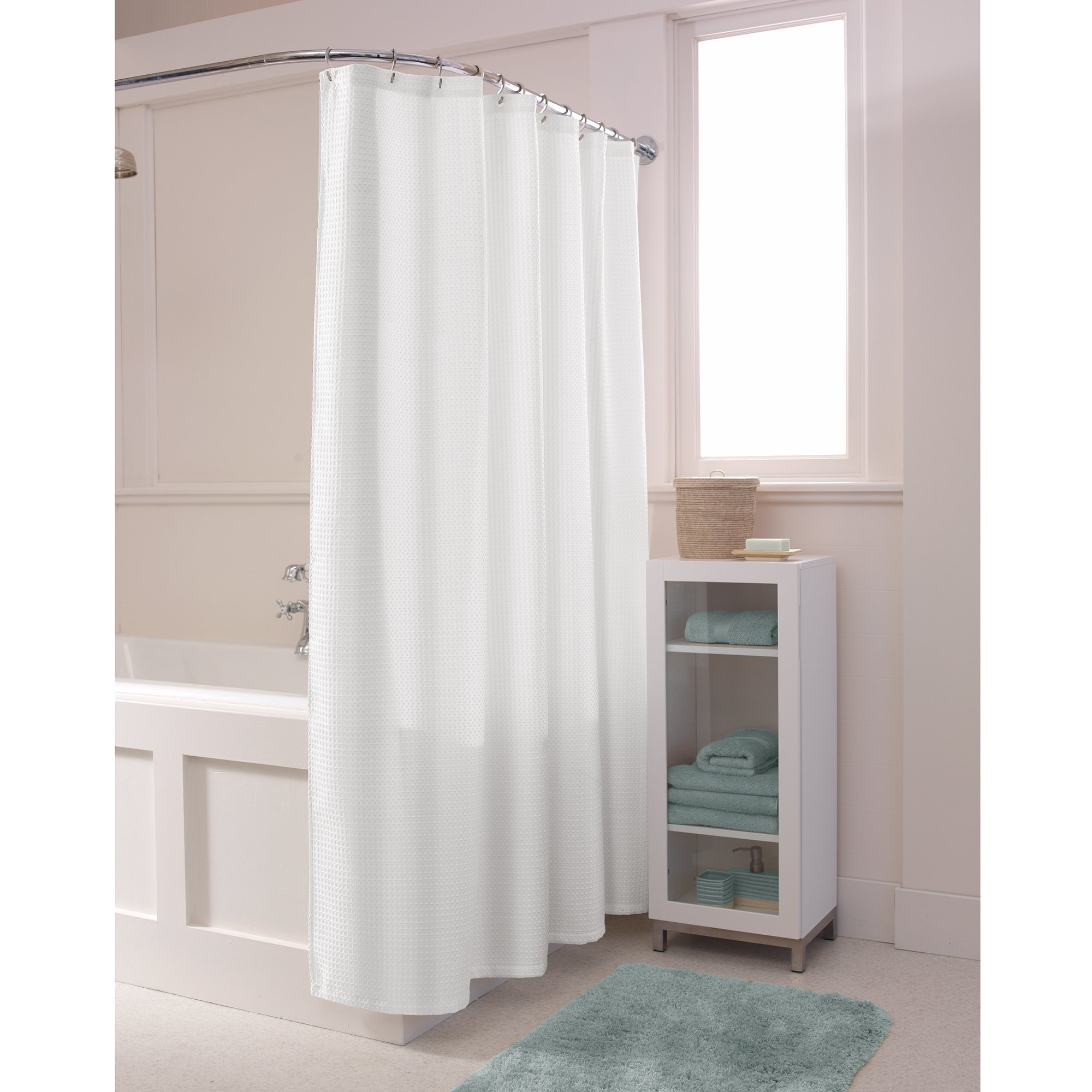 white fabric shower curtain. Black Bedroom Furniture Sets. Home Design Ideas