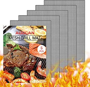 Aoocan Grill mesh mat - Set of 5 Non Stick BBQ Grill mats, Heavy Duty, Reusable Grilling mats, Easy to Clean - Works on Gas, Charcoal, Pellet Grill - 15.75 x 13 in, Black