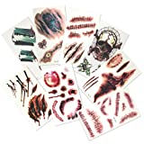 8 Sheets of Temporary, Fake Tattoos! – Perfect Halloween Costume Accessory – 3D Gory Make up Effects – Super Authentic!