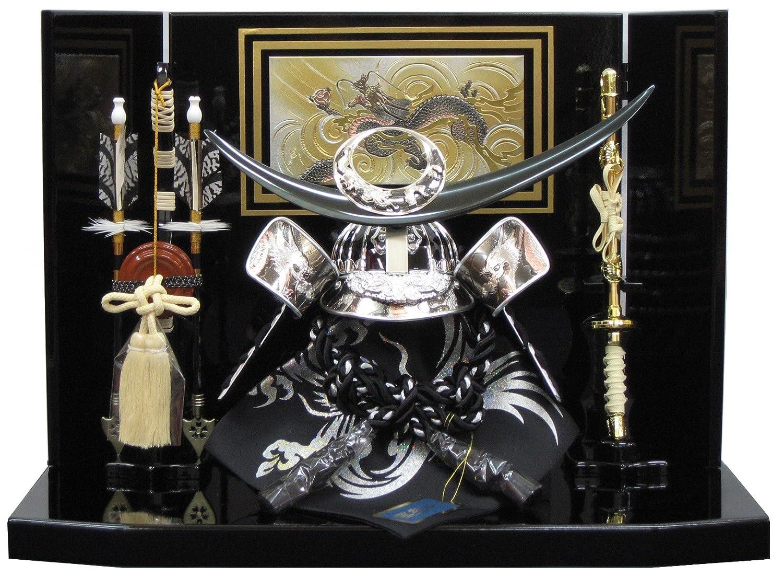 [五月人形 兜飾り 5月人形]間口45cm平飾り 上杉謙信シルバー(正絹縅) 彫金龍平飾り B01CUMG4KU