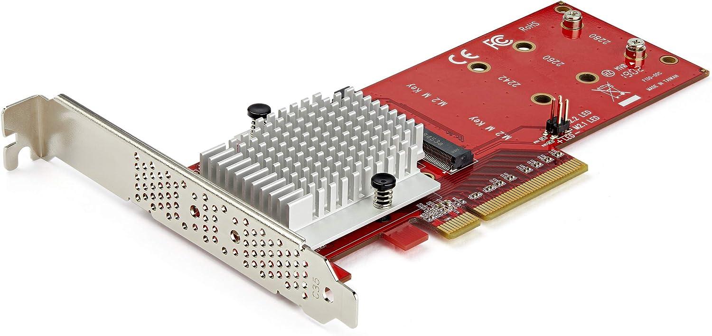 StarTech.com Dual M.2 PCIe SSD Adapter Card - x8 / x16 Dual NVMe or AHCI M.2 SSD to PCI Express 3.0 - M.2 NGFF PCIe (M-Key) Compatible - Supports 2242, 2260, 2280 - RAID & JBOD - Mac & PC (PEX8M2E2)
