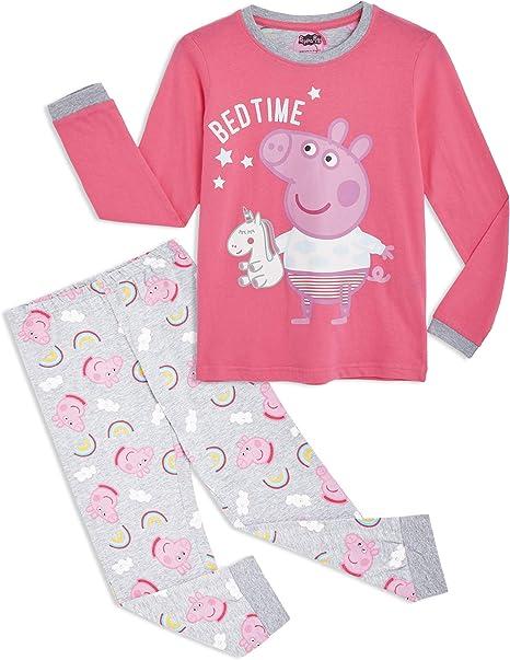 Peppa Pig Pijama para Niñas, Pijama Unicornio Niña de Manga Larga ...