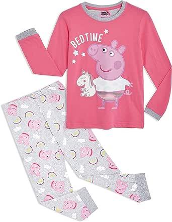 Peppa Pig Pijama para Niñas, Pijama Unicornio Niña de Manga Larga con Algodón Suave, Ropa Bebe Niña de Invierno Regalo Pepa Pig para Niños, Set de 2 Piezas Rosa