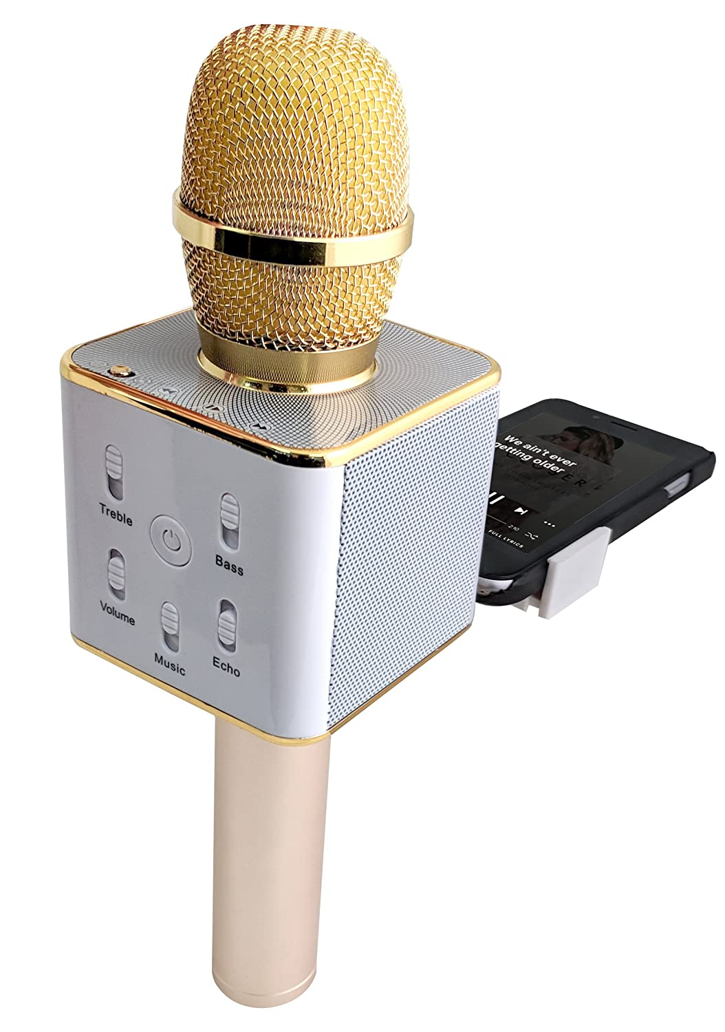 Templeton 3-in-1 Wireless Karaoke Microphone w/ Built-In Bluetooth Speaker, Echo & Effects Functions- Use w/ iPhone, Apple, Android, PC, & Smartphones w/ Free Cell Phone Lyrics Holder 4332801074