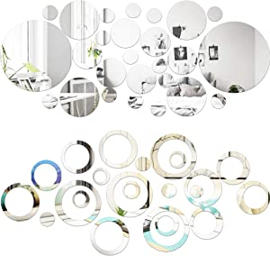 SGBETTER 56 Pieces Round Acrylic Mirror Wall Stickers 3D Wall Decal Self Adhesive Circle Dots Removable Mirrors Wall Decorative Mirrors for Home DIY Living Room Bedroom Decor Silver