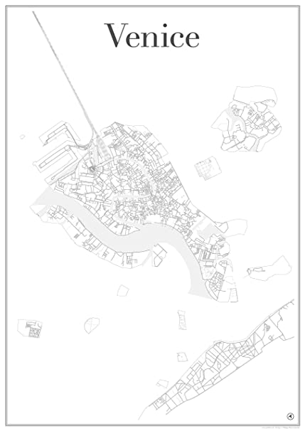 Map Of Italy Showing Venice.Venice City Map Poster Art Print Road Network Showing Unique