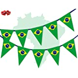 Brazil Full Flag Patriotic Themed Bunting Banner 15 Triangle flags for guaranteed simply stylish party National Royal decoration by PARTY DECOR