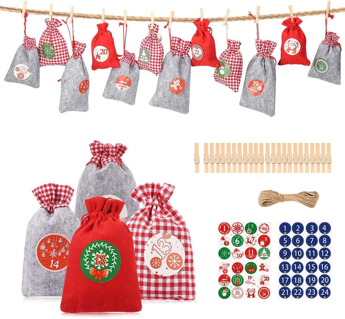 Advent calendar kit with 24 fabric bags in 24 colors with white stars and numbered tags ribbons and a cord included.