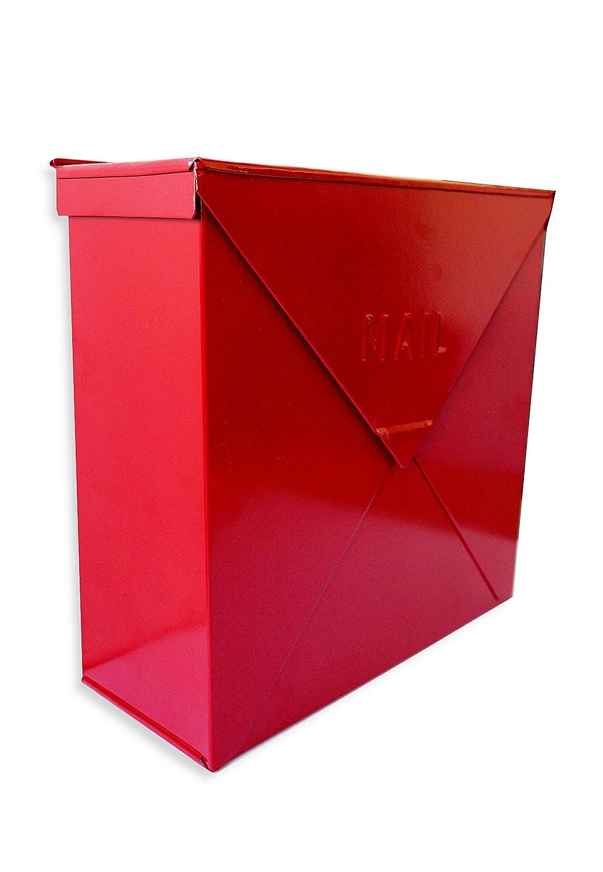 Nach mb-6300rdシカゴレッドインダストリアルスタイルメールボックス – 壁マウントされ、光沢のある赤、10