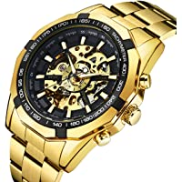 Watches, Men's Watches Sports Mechanical Watch Skeleton Punk with Stainless Steel Bracelet