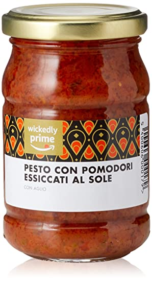 Marca Amazon - Wickedly Prime Pesto de tomate seco al sol y ajo (6x190g)