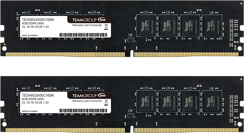 Team TED48G2400C16BK Desktop DDR4-2400 8GB DDR4-2400 PC4-19200 TED48G2400C16BK