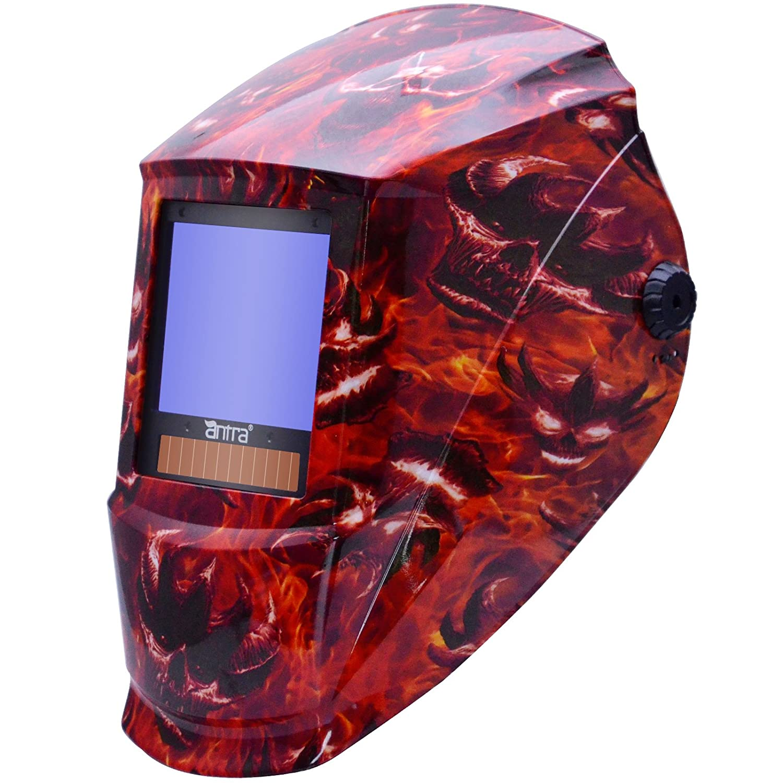 Antra AH7-X90-7333 TOP Optical Class 1/1/1/1 Digital Controlled Solar Powered Auto Darkening Welding Helmet Wide Shade 4/5-9/9-13