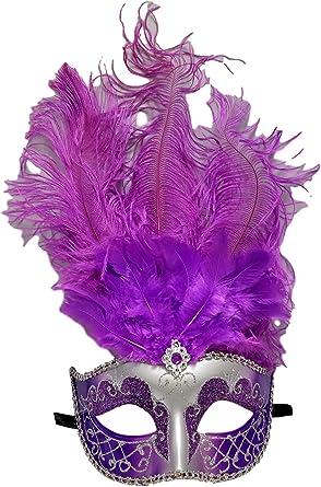 VENETIAN Mardi Gras Masquerade Ball SILVER PURPLE MASK w// GLITTERS FEATHERS New