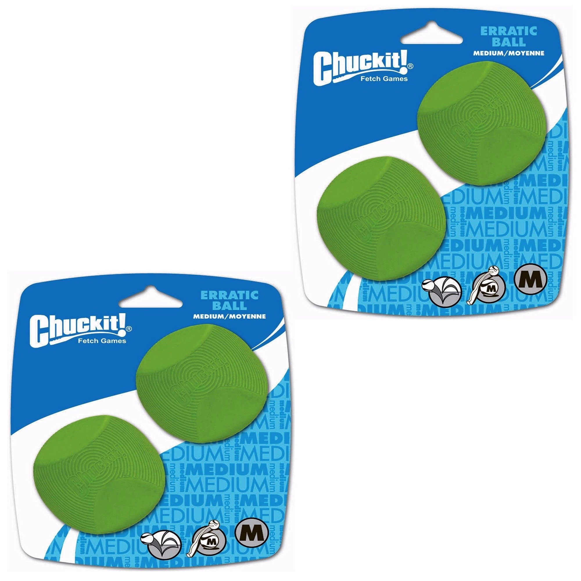 Chuckit! Dog Fetch Toy ERRATIC BALL Unpredictable Bounce Fits Launcher MED 4Ball