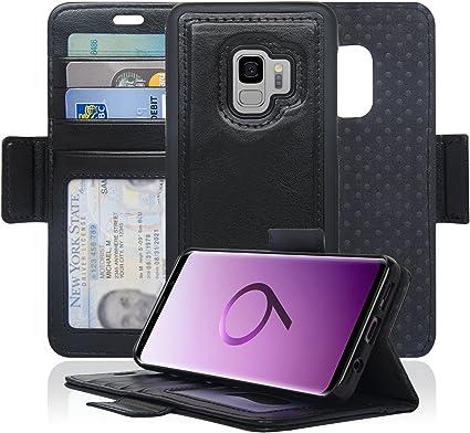 NAVOR Étui portefeuille magnétique détachable avec protection RFID pour Samsung Galaxy S9 [Série Vajio] Noir