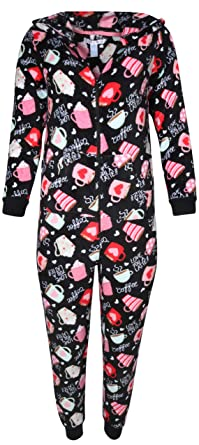 8b4b96baf5 Pillow Talk Women  s Sleepwear Coral Fleece Hooded Non Footed Onesie Pajama  with Pockets