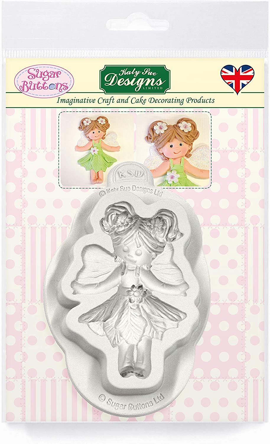 Fairy Silicone Mold for Cake Decorating, Crafts, Cupcakes, Sugarcraft, Candies, Card Making and Clay, Food Safe Approved, Made in the UK, Sugar Buttons by Kathryn Sturrock
