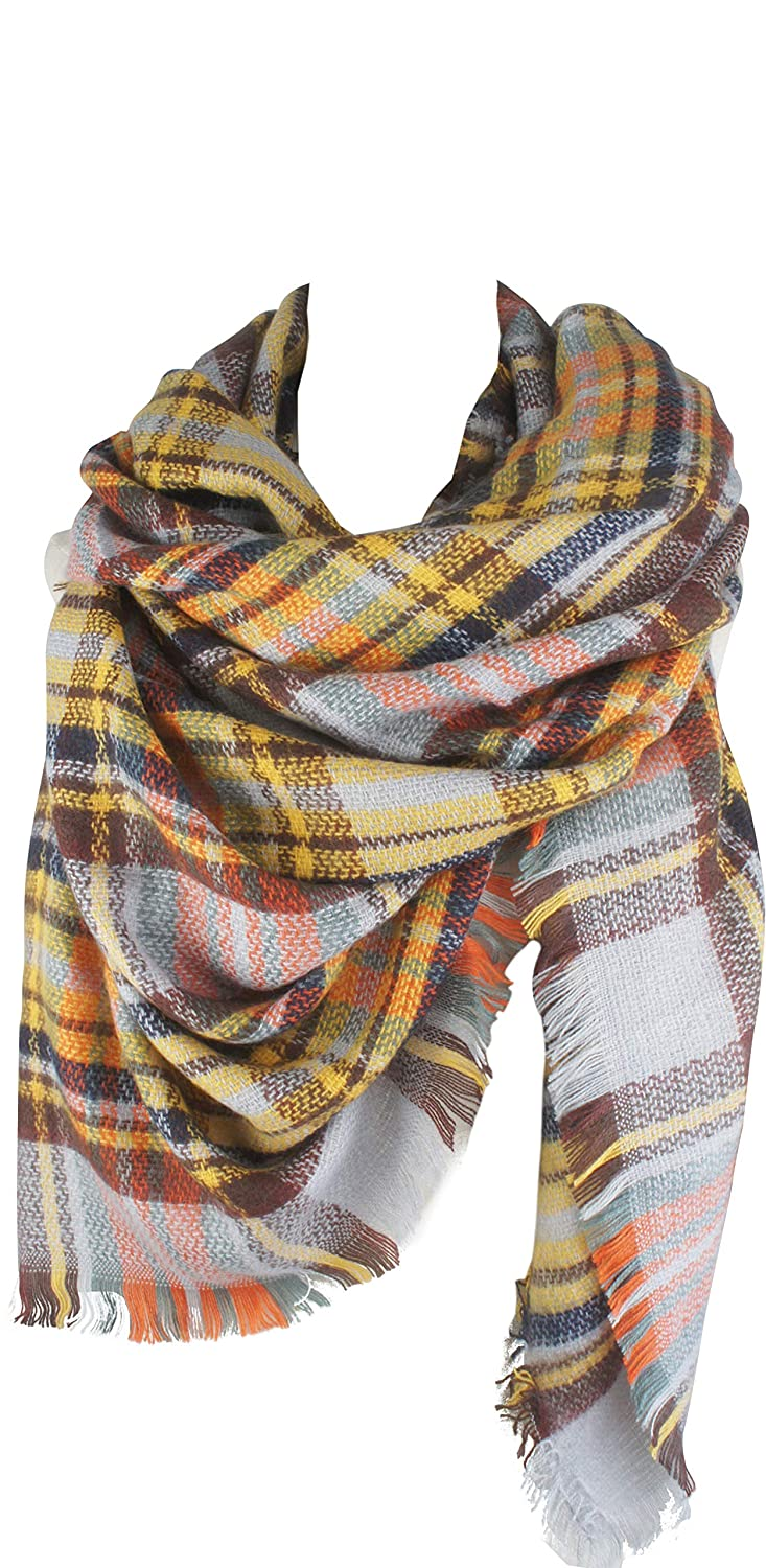 Yellow Brown VIVIAN & VINCENT Women's Plaid Blanket Winter Scarf Warm Wrap Oversized Shawl Cape