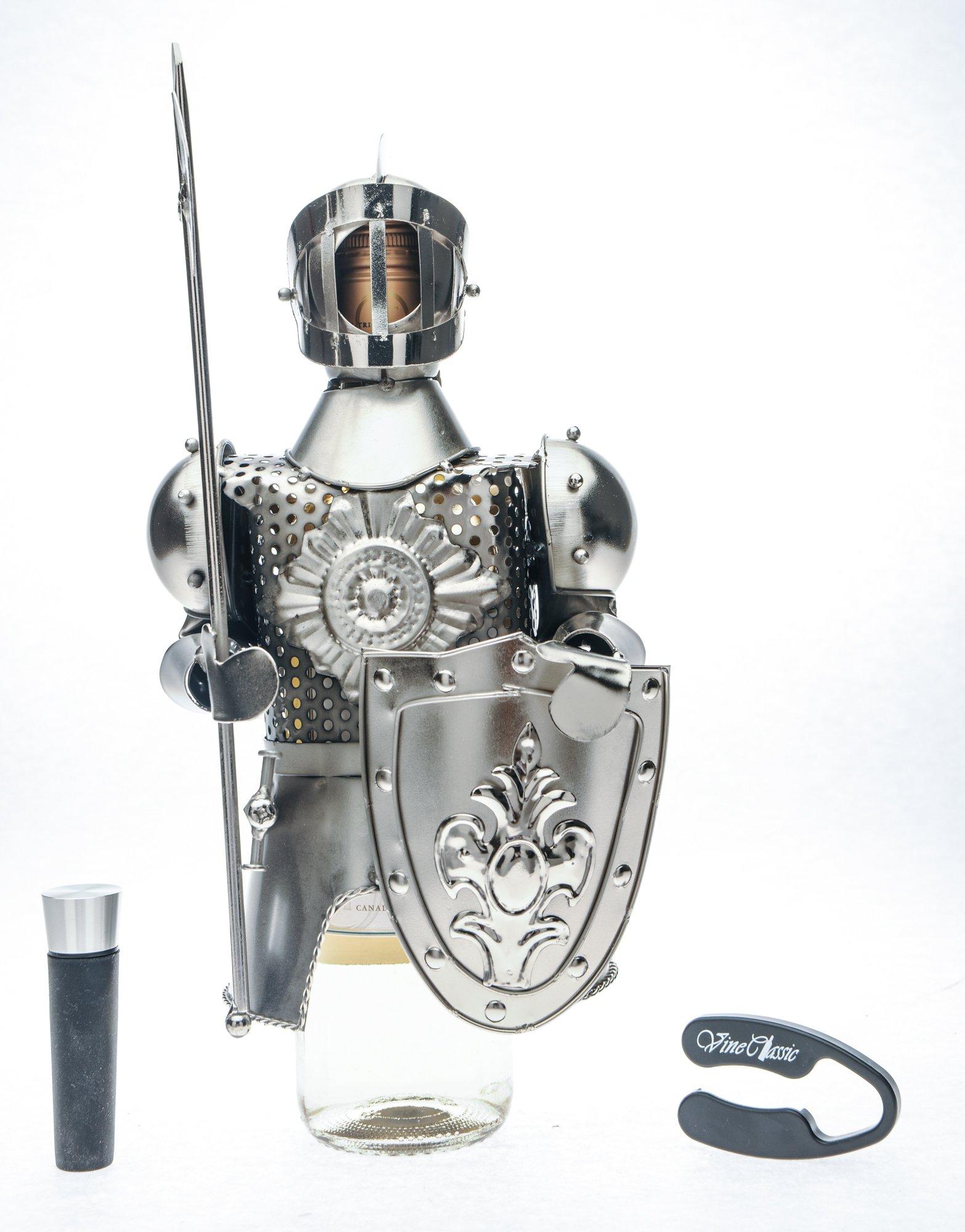 Knight Metal Wine Bottle Holder Plus a Wine Foil Cutter and a Wine Vacuum Bottle Stopper