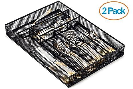 Halter - Organizador malla de acero para cajón de cubiertos con patas de espuma antideslizante,