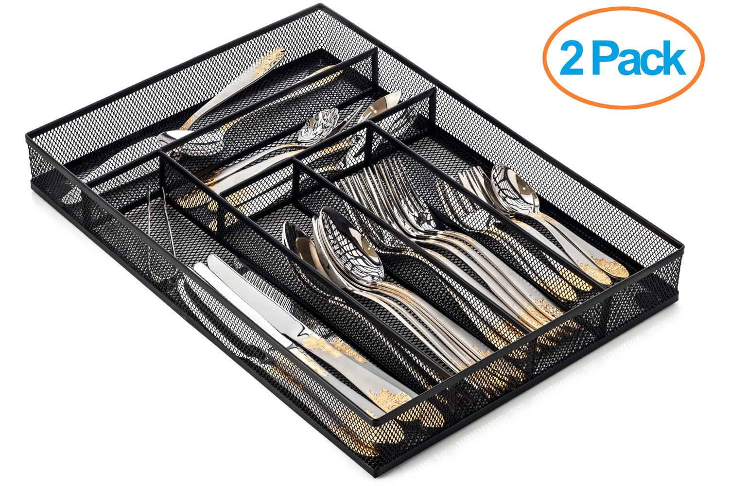 Halter Steel Mesh Large Silverware Cutlery Tray Organizer with No-Slip Foam Feet - Kitchen Organization / Silverware Storage - 16'' X 11.25'' X 2'' - 2 Pack