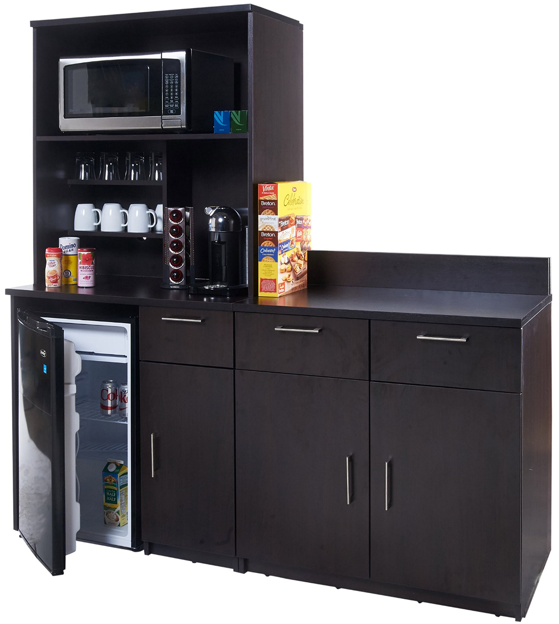 Coffee Kitchen Lunch Break Room Cabinets Model 4256 BREAKTIME 3 piece group Color Espresso - Factory Assembled (NOT RTA) Furniture Items ONLY.