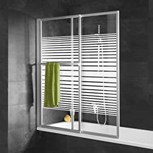 Schulte mampara de baño extensible 70 – 118 x 140 cm, mampara de ducha deslizante pantalla de bañera plegable, 2 motores, Décor rayas horizontales, perfil Alu Nature: Amazon.es: Bricolaje y herramientas