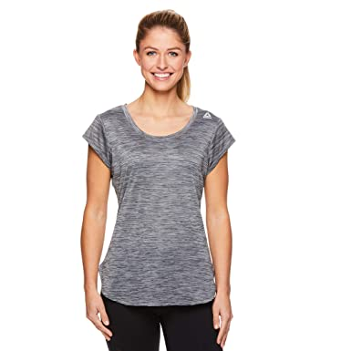 1ee3dc8aeac6 Reebok Women s Legend Performance Short Sleeve T-Shirt with Polyspan Fabric  - Black Black Heather