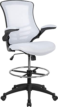 Flash Furniture Mid-Back Light Gray Mesh Ergonomic Drafting Chair with Adjustable Chrome Foot Ring Adjustable Arms and Black Frame