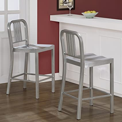 Fantastic Silver Metal Counter Stools Set Of 2 Alphanode Cool Chair Designs And Ideas Alphanodeonline