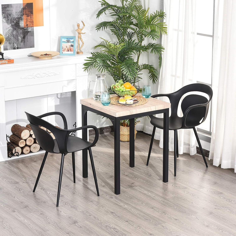 Homcom Lot de 2 chaises Style néo-rétro accoudoirs Coque polypropylène 4 Pieds effilés métal Noir Noir