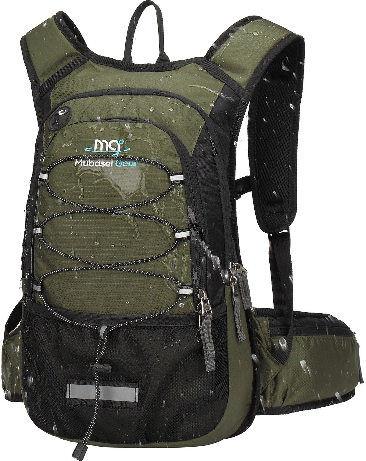 Mubasel Gear Insulated Hydration Backpack Pack with 2L BPA Free Bladder - Keeps Liquid Cool up to 4 Hours – for Running, Hiking, Cycling, Camping (Olive)