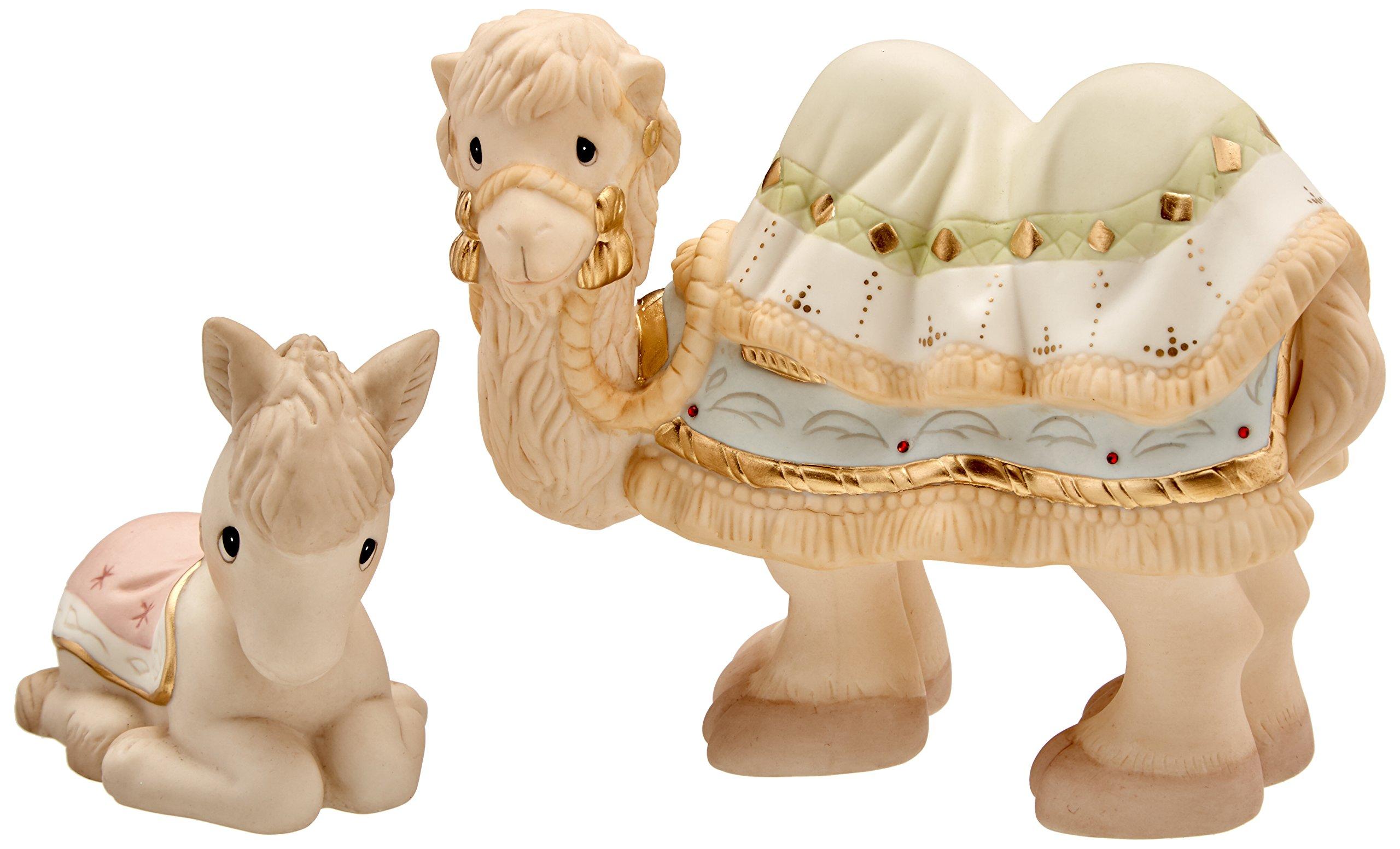 Precious Moments 159028 2 Piece Come Let Us Adore Him Nativity Camel & Donkey Bisque Porcelain Figurine Set