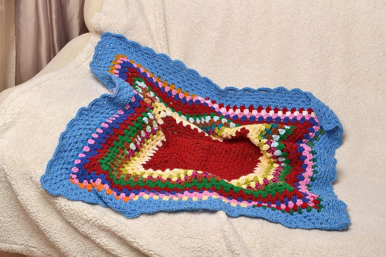 Manta Infantil Tejida A Ganchillo De Hilos Multicolores Artesanal Pequeña: Amazon.es: Ropa y accesorios