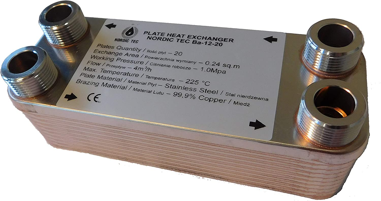 NORDIC TEC Ba-12-20 /Échangeur de chaleur en acier inoxydable 20 plaques 3//4 45 kW