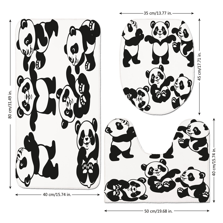 3 Piece Bathroom Mat Set,Nursery,Set with Playful Panda Bear in Monochrome Style Happy Young Zoo Animal Childhood Decorative,Black White,Bath Mat,Bathroom Carpet Rug,Non-Slip