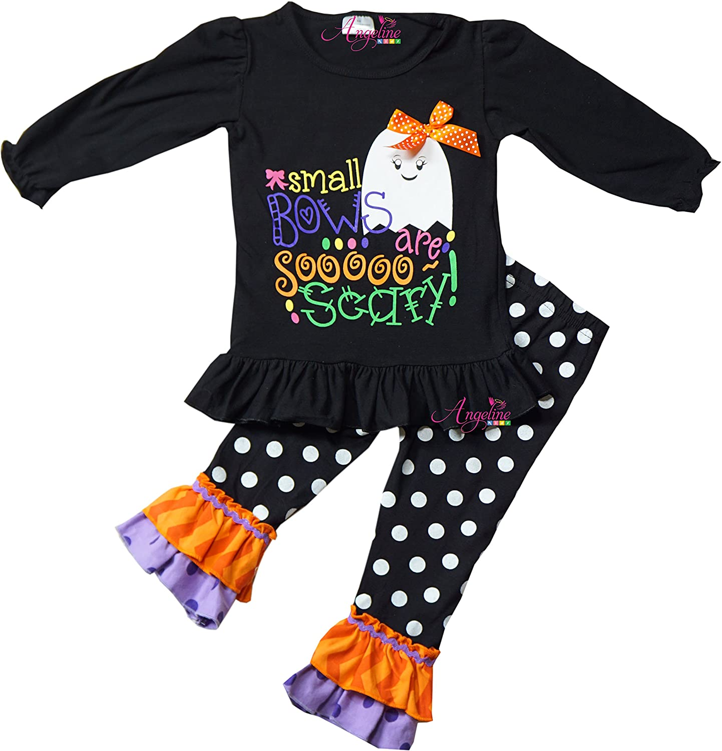 Boutique Clothing Girls Girls Halloween Boo Ruffles Outfit Set - Pumpkin Ghost Spider ANHALLO17_BOO2
